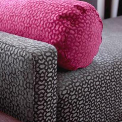 Fuchsia Geometric Bolster Pillow & Gray Geometric Bench