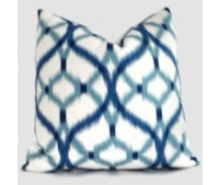 Blue and White Izmir Ikat Decorative Pillow Cover