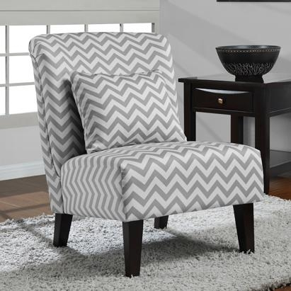 Gray and White Zig Zag Chair