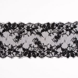 Black Beaded and Sequined Lace Trim - 6.5