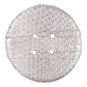 61mm Silver Snakeskin Covered Button