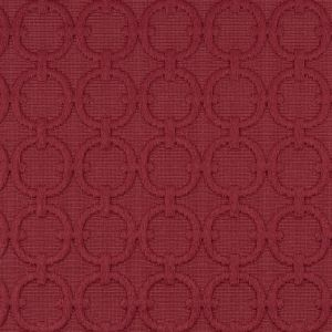 Red Berry Geometric Embroidered Cotton-Poly Woven