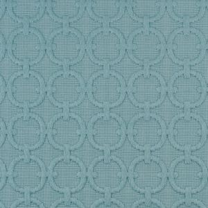 Turquoise Geometric Embroidered Cotton-Poly Woven