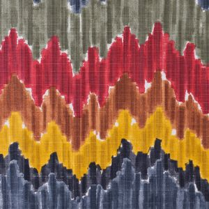 Gray/Red Flamestitch Cotton-Blend Woven