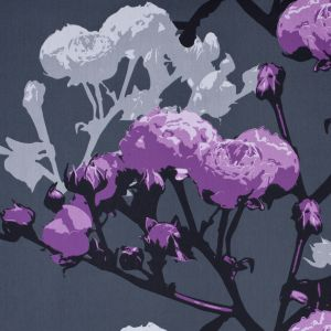 Swedish Giant Roses Gray and Purple Cotton