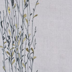 Embroidered Leaves Stone Linen