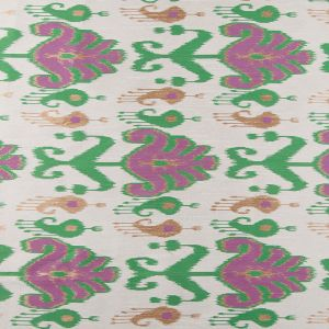 Green and Purple Double-Wide Ikat Print Poly Woven