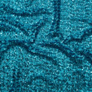 Polished Turquoise Baby Sequins on Black Mesh