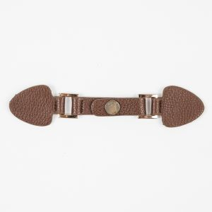 Brown/Gold Faux Leather Snap Closure