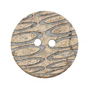Italian Beige and Silver Abstract Etched Coconut Button - 48L/30.5mm