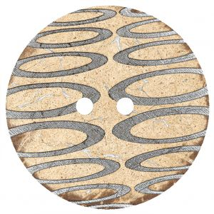 Italian Beige and Silver Abstract Etched Coconut Button - 64L/40.5mm