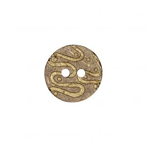 Italian Beige and Gold Swirls Etched Coconut Button - 24L/15mm