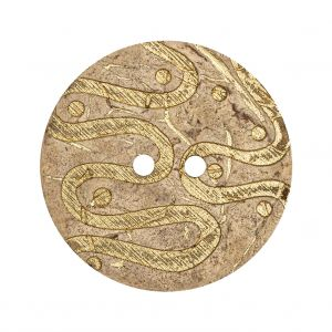 Italian Beige and Gold Swirls Etched Coconut Button - 48L/30.5mm
