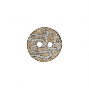 Italian Beige and Silver Swirls Etched Coconut Button - 24L/15mm