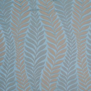 Canal Blue and Taupe Leaves Satin Jacquard