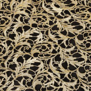 Metallic Glamour Gold Foiled Scrollwork Guipure Lace with Finished Edges