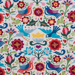 Multicolored Printed Birds and Flowers on a Cotton Woven