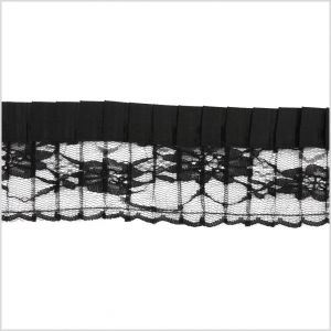 2.5 Black Pleaded Lace with Satin Edge