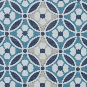 Spanish Navy and Beige Floral Geometric Poly-Cotton Canvas