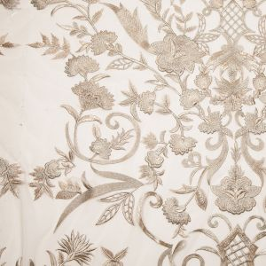 Gold Floral Embroidered Tulle Panel