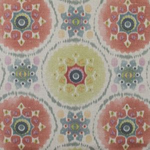 Spanish Green and Pink Medallion Floral Woven
