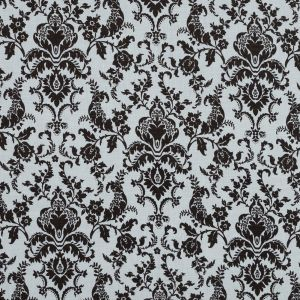 Brown and Lily White Damask Printed Linen Woven