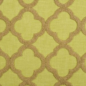 Stem Green Classical Embroidered Linen-Like Polyester