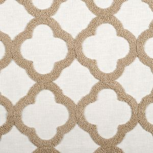 Natural/White Classical Embroidered Linen-Like Polyester