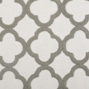 Shadow/White Classical Embroidered Linen-Like Polyester