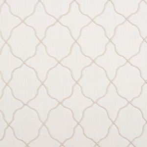 Ivory Moroccan Embroidered Linen-Like Poly Blend