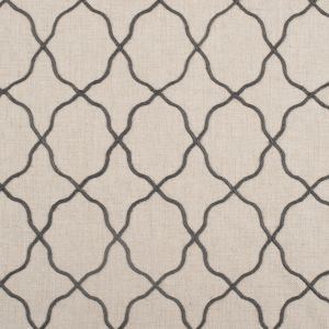 Graphite Moroccan Embroidered Linen-Like Poly Blend