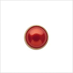 Italian Red/Gold Shank Back Button - 18L/11.5mm