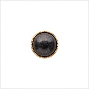 Italian Charcoal/Gold Shank Back Button - 16L/10mm