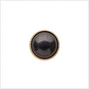 Italian Charcoal/Gold Shank Back Button - 18L/11.5mm