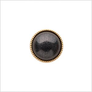 Italian Charcoal/Gold Shank Back Button - 20l/12mm