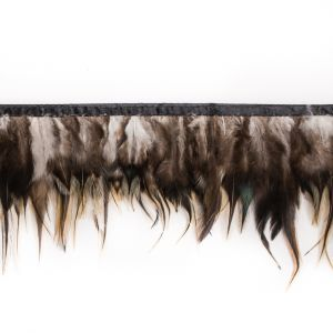 6 Brown to Yellow Cock Feather Fringe