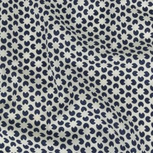 Navy and Cloud Dancer Geometric Checkerboard Cotton Dobby Shirting