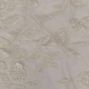 White on Nude Floral Embroidered Lace