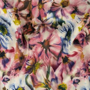 Pink, Blue and Yellow Packed Floral Stretch Cotton Sateen
