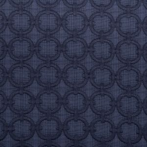 Navy Geometric Embroidered Cotton-Poly Woven
