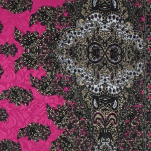 Digitally Implemented Pink/Green Border Print on a Butterfly Jacquard