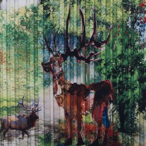 Digitally Printed Pleat Imitation Deer in a Forest on a Mikado/Twill