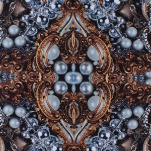 Digitally Printed Jewels and Gems on a Polyester Mikado/Twill