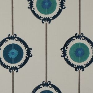 Gray/Blue/Green Printed Embroidered Cotton Woven