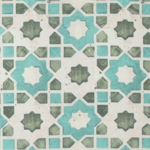 Spa Blue/Green Geometric Floral Outdoor Canvas