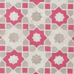 Pink/Beige Geometric Floral Outdoor Canvas