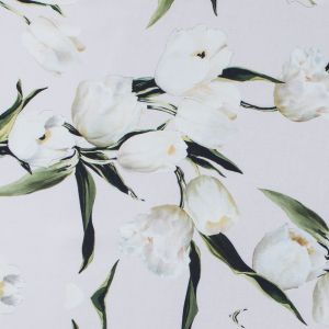 Rosewater and Whisper White Digitally Printed Flowers on a Premium Mikado/Twill