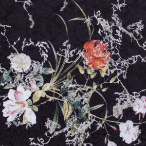 Floral Digitally Printed Butterfly Jacquard with Silver Metallic Embroidery