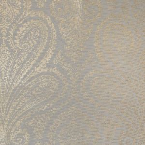 Beige Cotton Faille with a Gilded Gold Paisley Foil