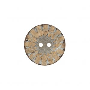 Italian Beige and Silver Carved Coconut Button - 32L/20mm